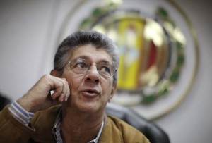 Ramos Allup, leader of the opposition party AD speaks during an interview with Reuters in Caracas